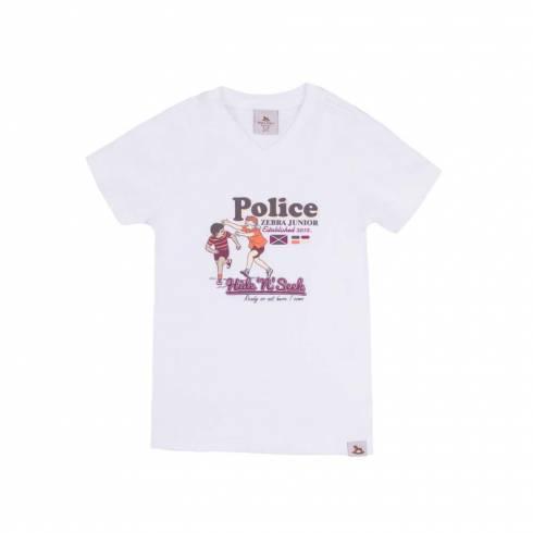 Tricou Police zebra, alb, cu inscriptie maro