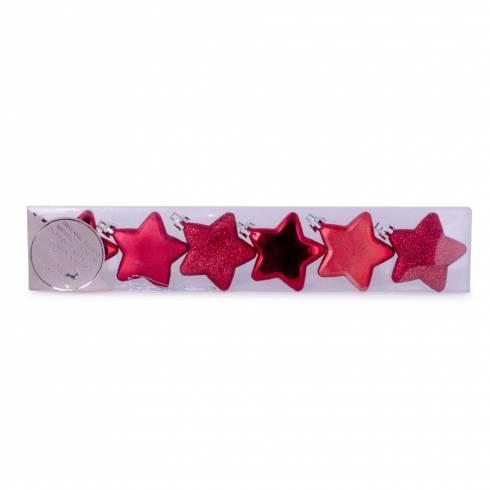 Set 6 globuri, in forma de stea, rosu