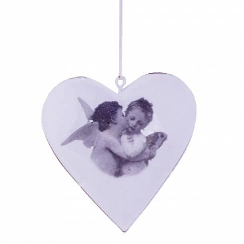 Decoratiune pentru brad, in forma de inima, din metal, alba