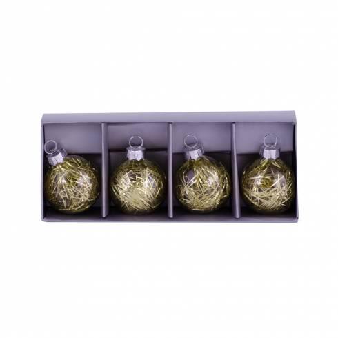 Set 4 globuri aurii cu beteala in interior