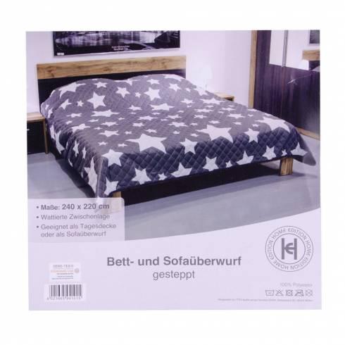 Cuvertura de pat Oeko-tex, gri cu stelute albe