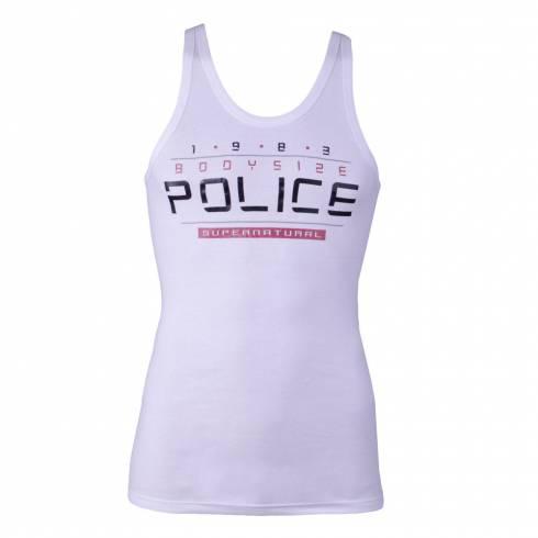 Maiou Police barbati, alb, cu scris negru cu rosu