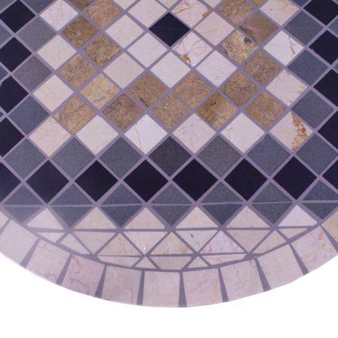 Masa rotunda, din marmura si metal