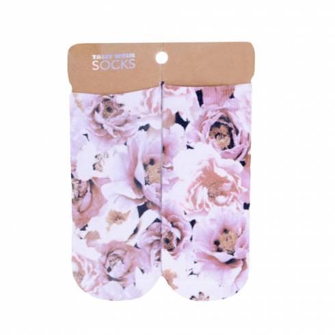 Sosete, Taly Weijl, alb-roz, model floral