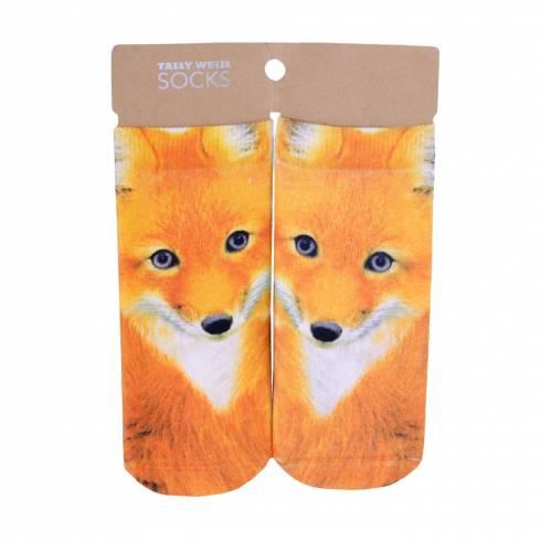 Sosete, Tally Weijl, dama, alb-portocaliu, imprimeu vulpe