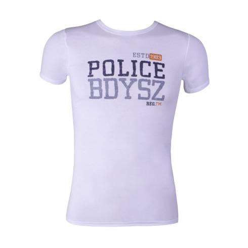 Tricou Police barbati, alb , cu scris