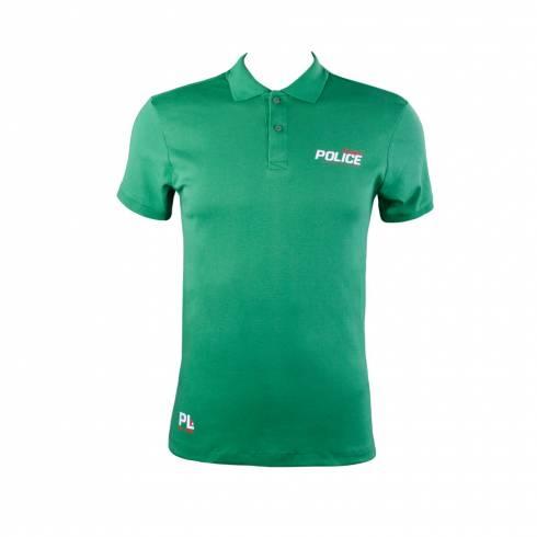 Tricou Police, verde, cu nasturi