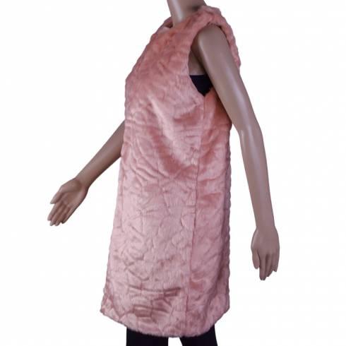Vesta dama, REmarcabil, din blana, lunga, roz-piersica