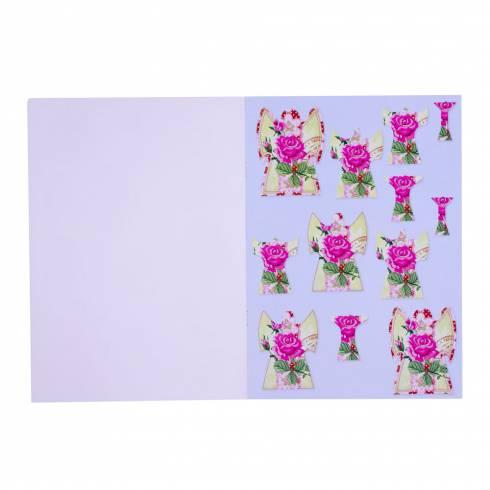 Carte creativa, de Craciun, rosu-roz