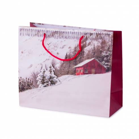 Punga de cadouri cu model de Craciun, alb-rosu