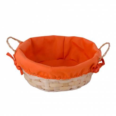 Cosulet decorativ, din nuiele, crem-portocaliu