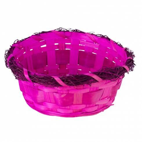 Cosulet decorativ, din nuiele, roz
