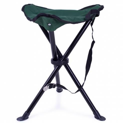 Scaun pliabil, din metal si textil, negru cu verde