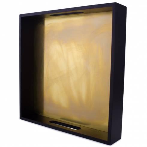 Tava decorativa, din lemn, negru cu auriu
