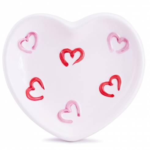 Sapuniera in forma de inima, alb cu roz