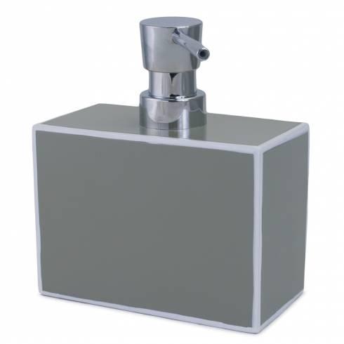 Suport pentru sapun lichid, C'elina, din ceramica, gri cu alb