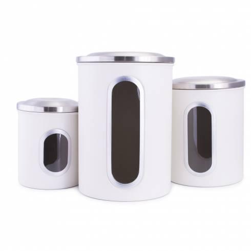 Set 3 cutii de depozitare alb, cu capac din otel inoxidabil, Rost Frei