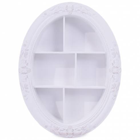 Dulapior decorativ, oval, din lemn, alb