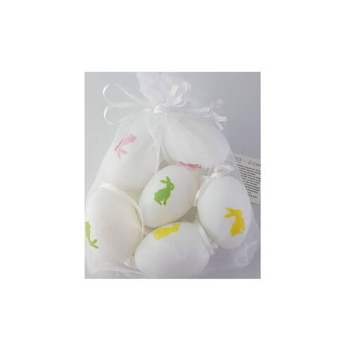 Set 6 oua decorative Paste, albe cu iepuras