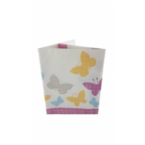 Fata de masa,din hârtie, alba cu fluturi multicolori