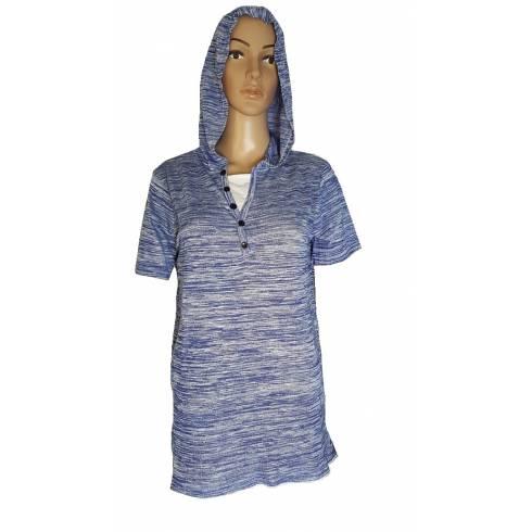 Tricou albastru-alb, cu gluga