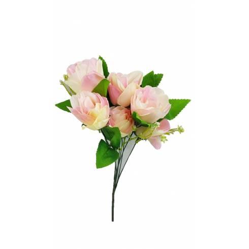 Buchet 7 trandafiri artificiali, alb-roz