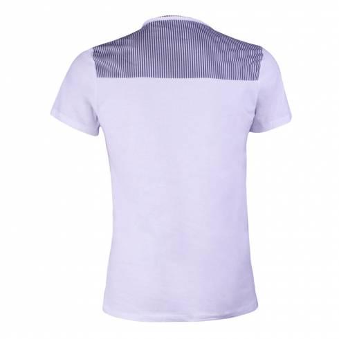 Tricou alb din bumbac, cu buzunar aplicat