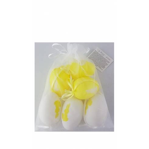Set 6 oua decorative Paste, alb-galben