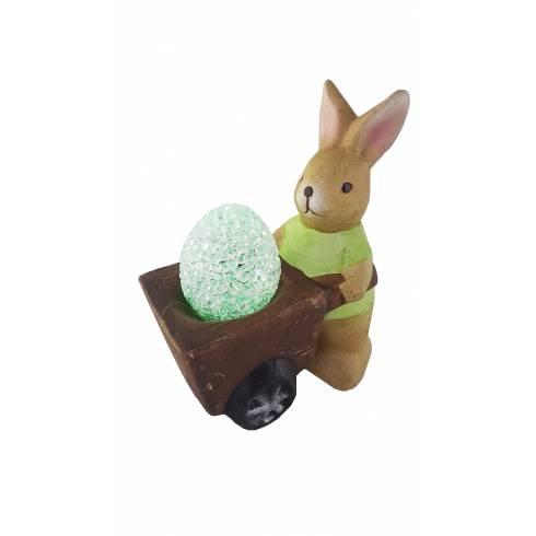Iepuras decorativ verde, din ceramica, cu ou multicolor