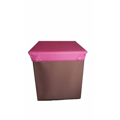 Cutie depozitare, maro, cu capac roz