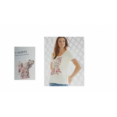 Set doua tricouri dama, Esmara alb cu imprimeu floral