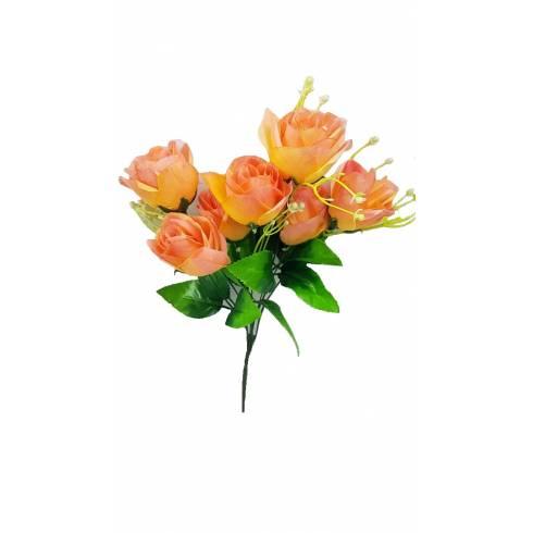 Buchet 7 trandafiri artificiali, roz-piersica