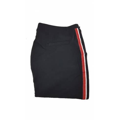 Pantaloni dama smart-casual, negru-rosu