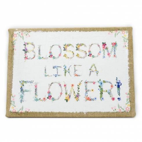 Tablou decorativ Clayre & Eef, din pânză, alb-muștar cu  imprimeu floral