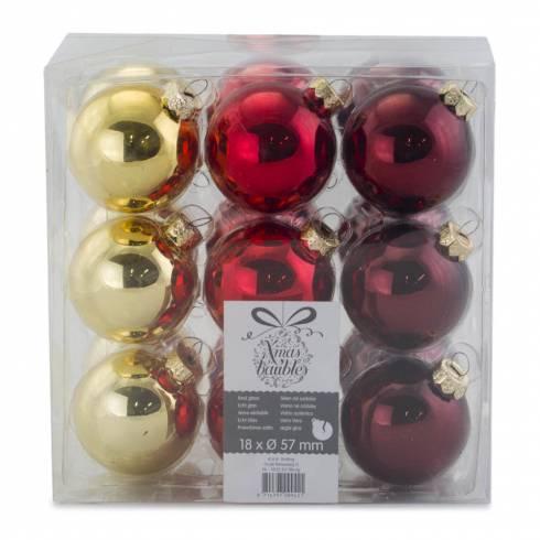 Set 18 globuri Xmas baubles, 57mm, sticla, rosu, galben si visiniu