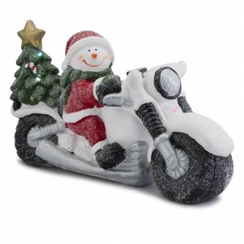 Decoratiune om de zapada pe motocicleta cu luminite