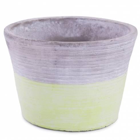 Ghiveci din ceramica, gri cu verde