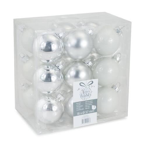 Set 18 globuri Xmas baubles, 57mm, din plastic, alb-argintii