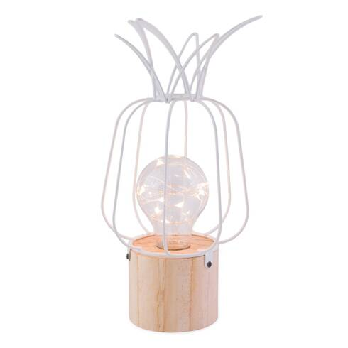 Lampa metalica in forma de ananas cu led, alba