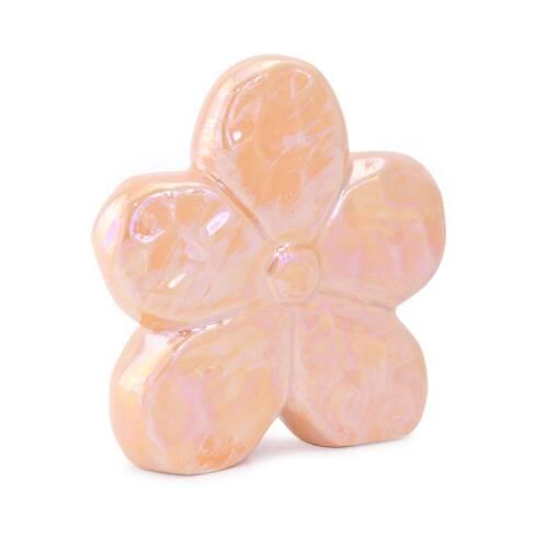 Bibelou floare ceramica, portocalie