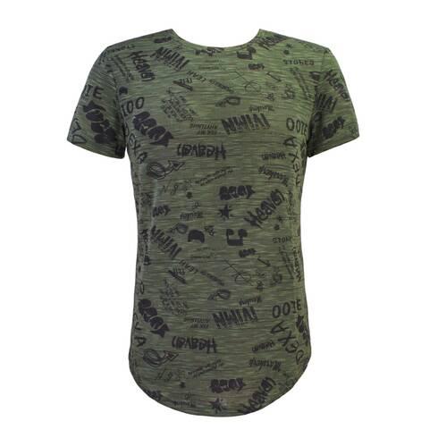 Tricou barbati, verde cu scris negru