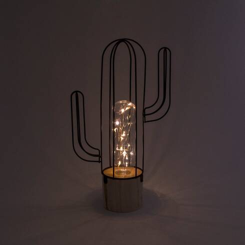 Lampa metalica in forma cactus, cu led, verde