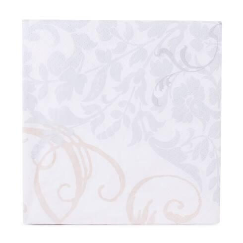 Servetele de masa, alb cu imprimeu gri-crem
