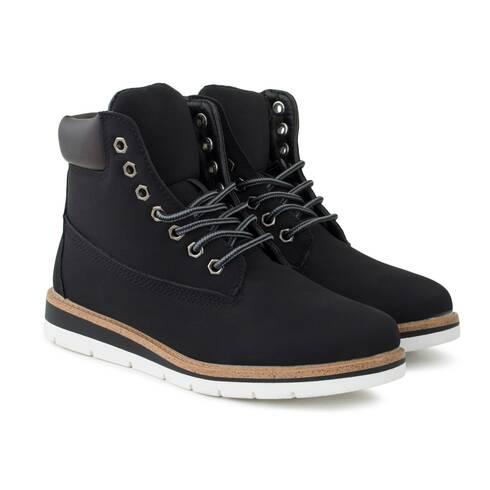 Ghete negre Lucky Shoes, cu talpa alba