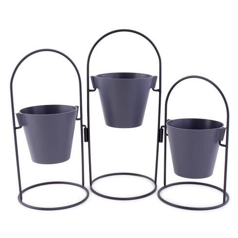 Suport cu 3 ghivece pentru flori, negru
