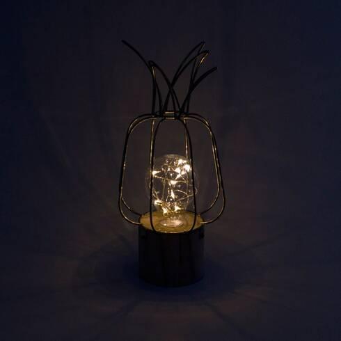 Lampa metalica in forma de ananas, cu led, aurie
