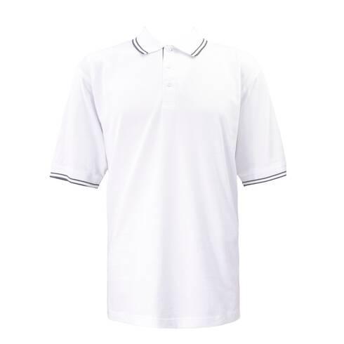 Tricou barbati alb cu guler