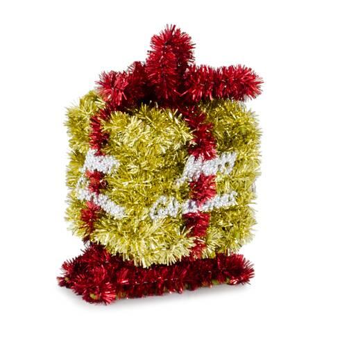 Ornament de Craciun, in forma de cutie cadou, galben