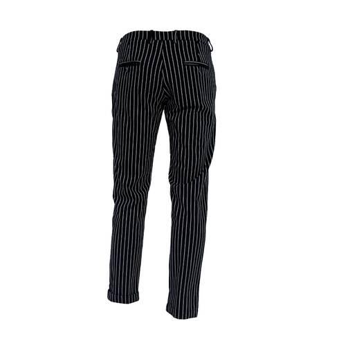 Pantaloni  negri, cu dungi albe