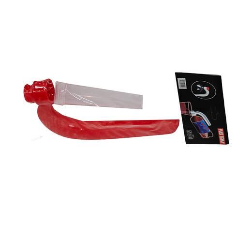 Dispozitiv pentru prelungirea sticlei de plastic, cu maner- transparent si rosu